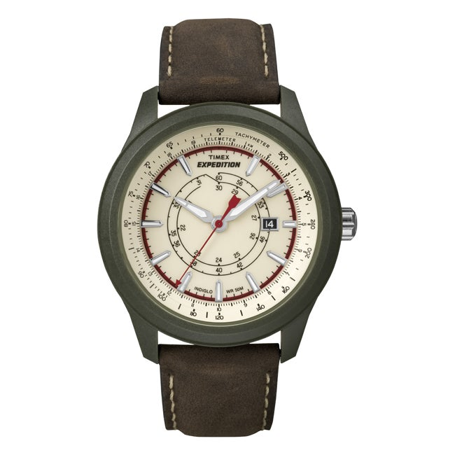 Timex Men's T49921 Expedition Camper Green/Brown Leather Strap Watch