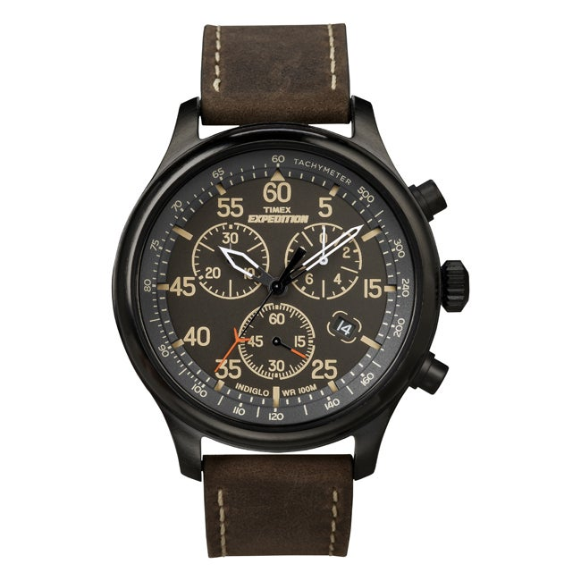 Timex Men's T49905 Expedition Rugged Field Chronograph Brown Leather Strap Watch