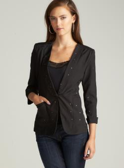 Ali & Kris Juniors Rhinestone Blazer In Black