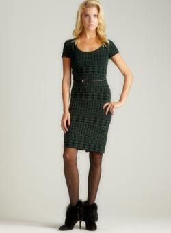 Carmen Marc Valvo Luna-Houndstooth C/S Scoopneck Dress