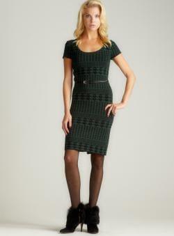 Carmen Marc Valvo Luna-Houndstooth C/S Scoopneck Dress