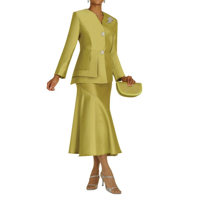 Divine Apparel Women's Light Olive Square Panel Skirt Suit