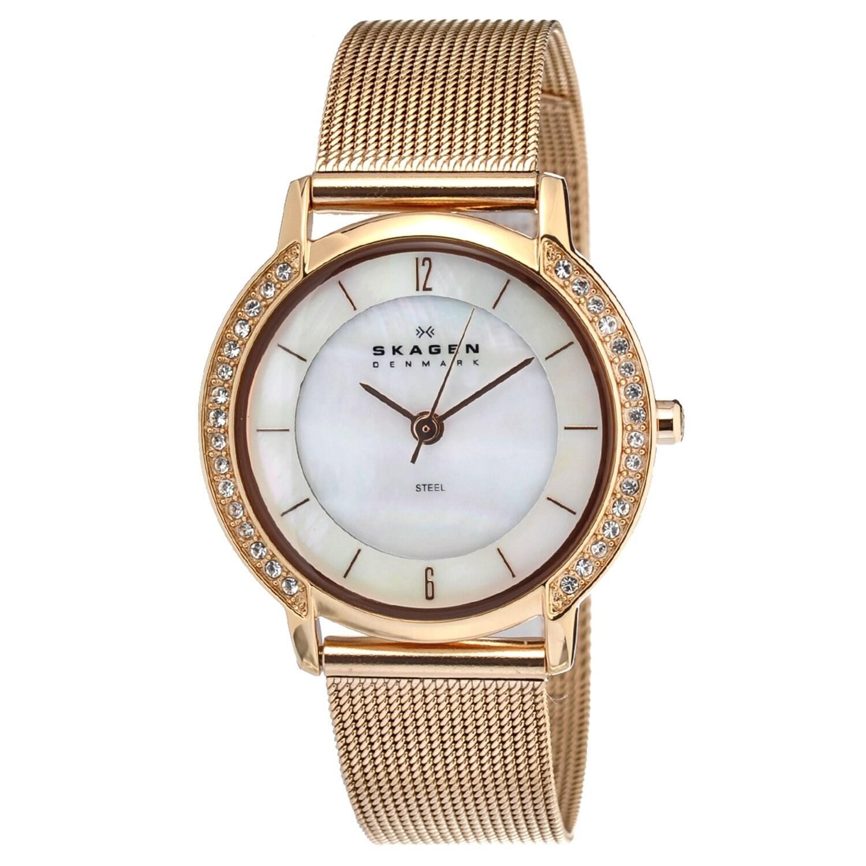 Skagen Women's Rose-goldtone Steel Mesh Watch