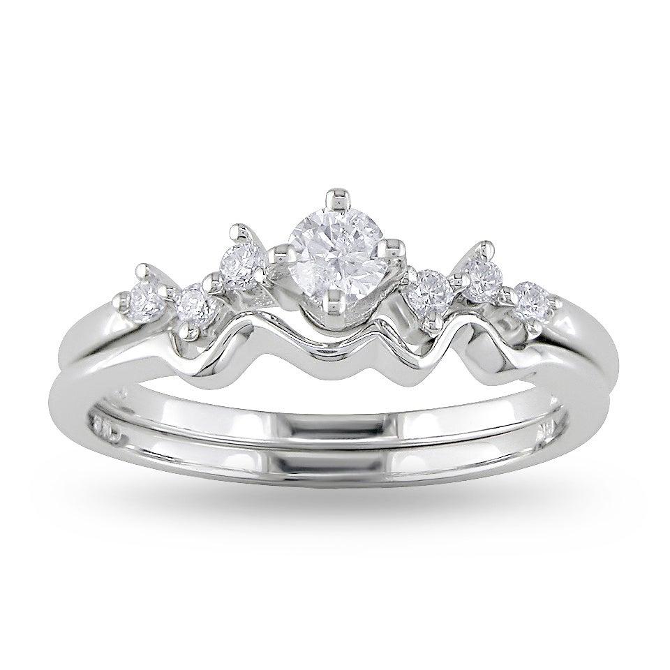 Miadora 14k White Gold 1/4ct TDW Diamond Ring Set (H-I, I2-I3)