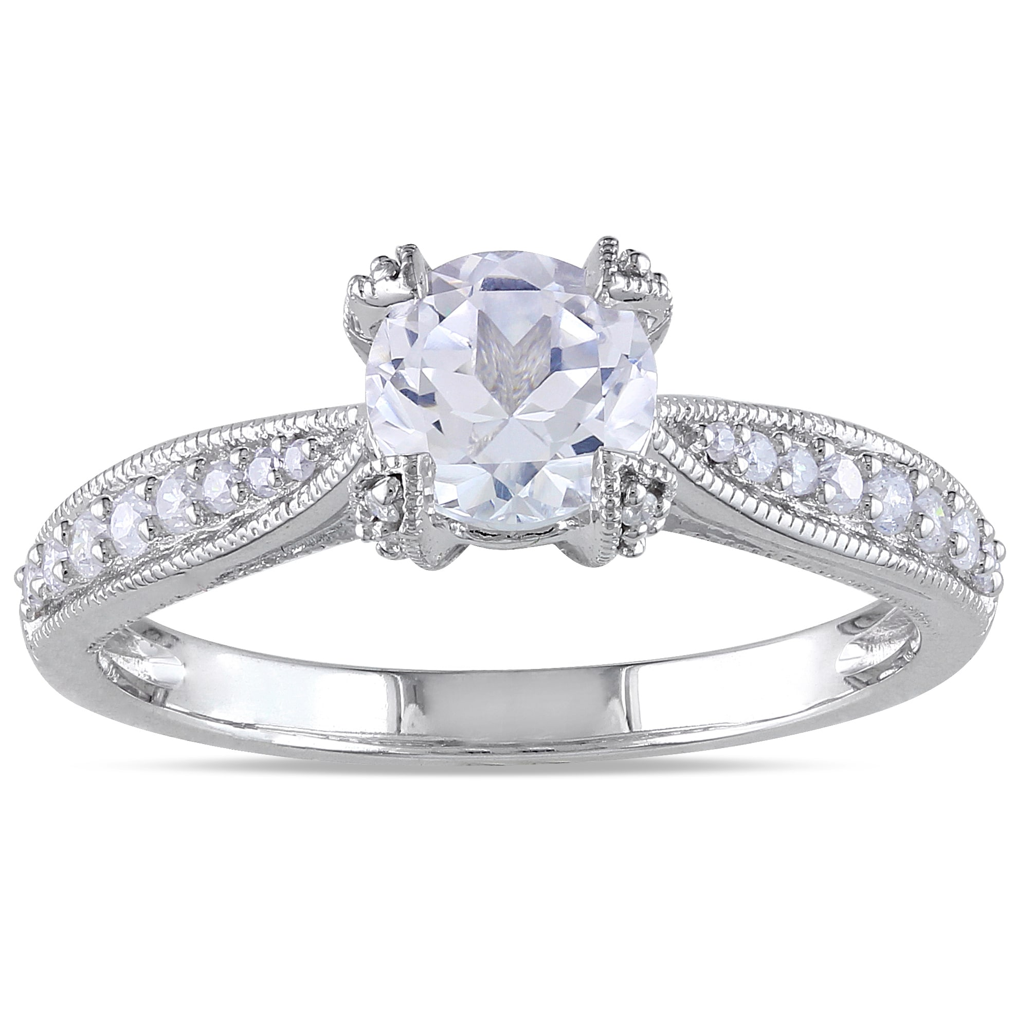 +Quick View Miadora Sterling Silver White Sapphire and 1/5ct TDW Diamond ...
