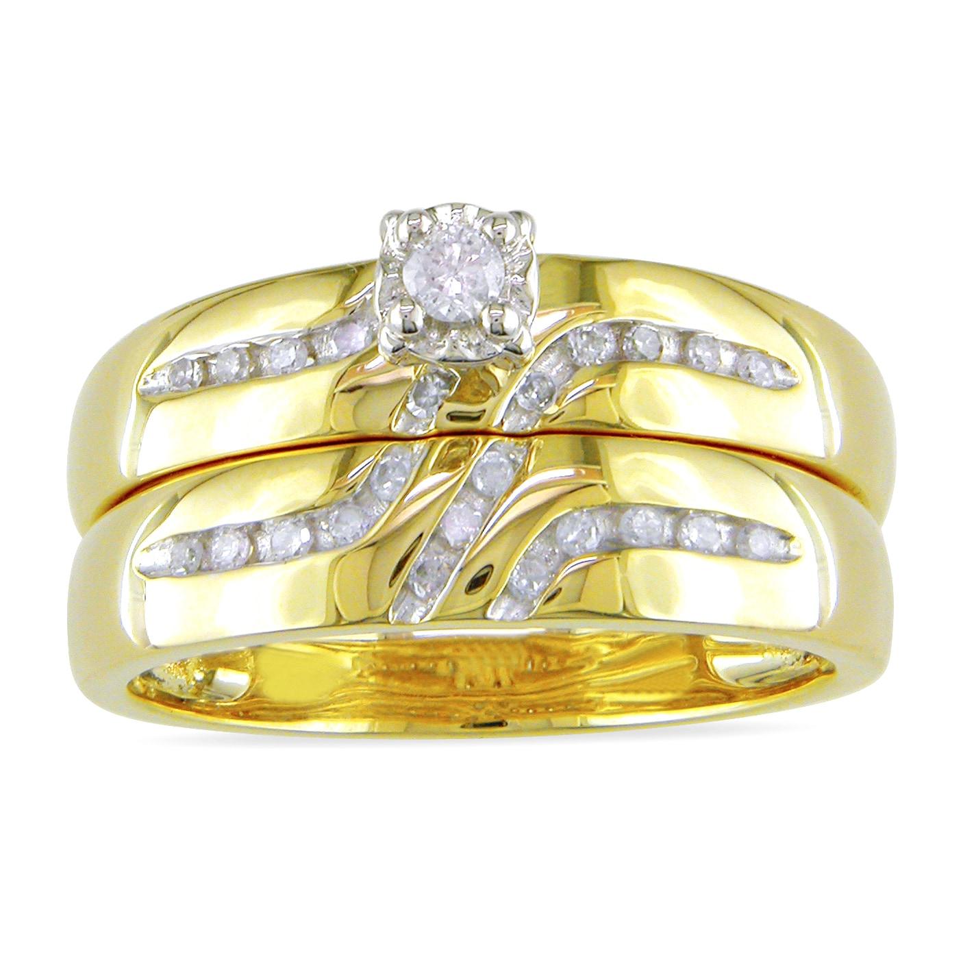 Miadora 10k Yellow Gold 1/6ct TDW Diamond Bridal Ring Set (H-I, I2-I3)