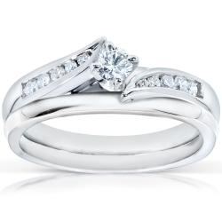 14k White Gold 1/4ct TDW Diamond Bridal Ring Set