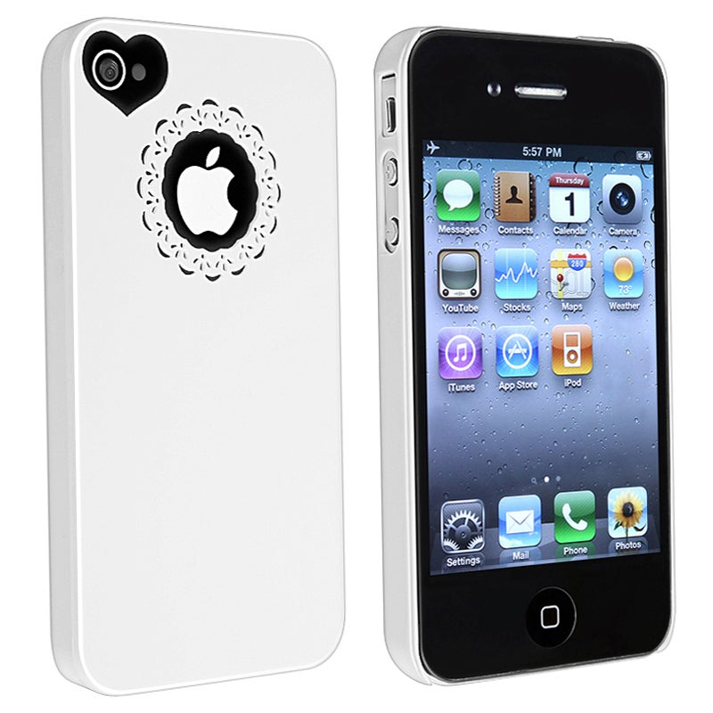 BasAcc White Sweetheart Snap-on Case for Apple iPhone 4/ 4S