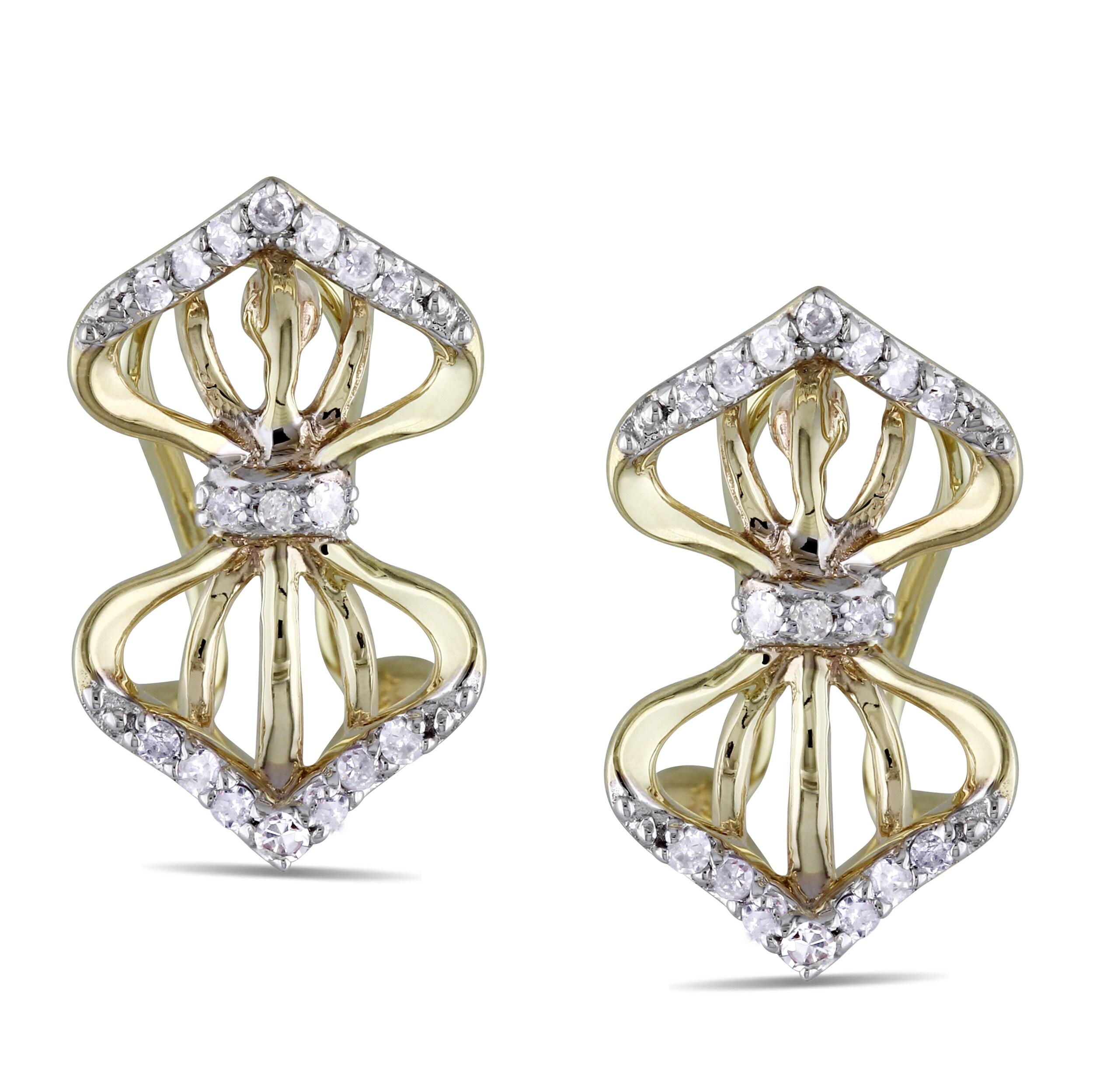 Miadora 14k Yellow Gold 1/6ct TDW Diamond Leverback Earrings (H-I, I2-I3)