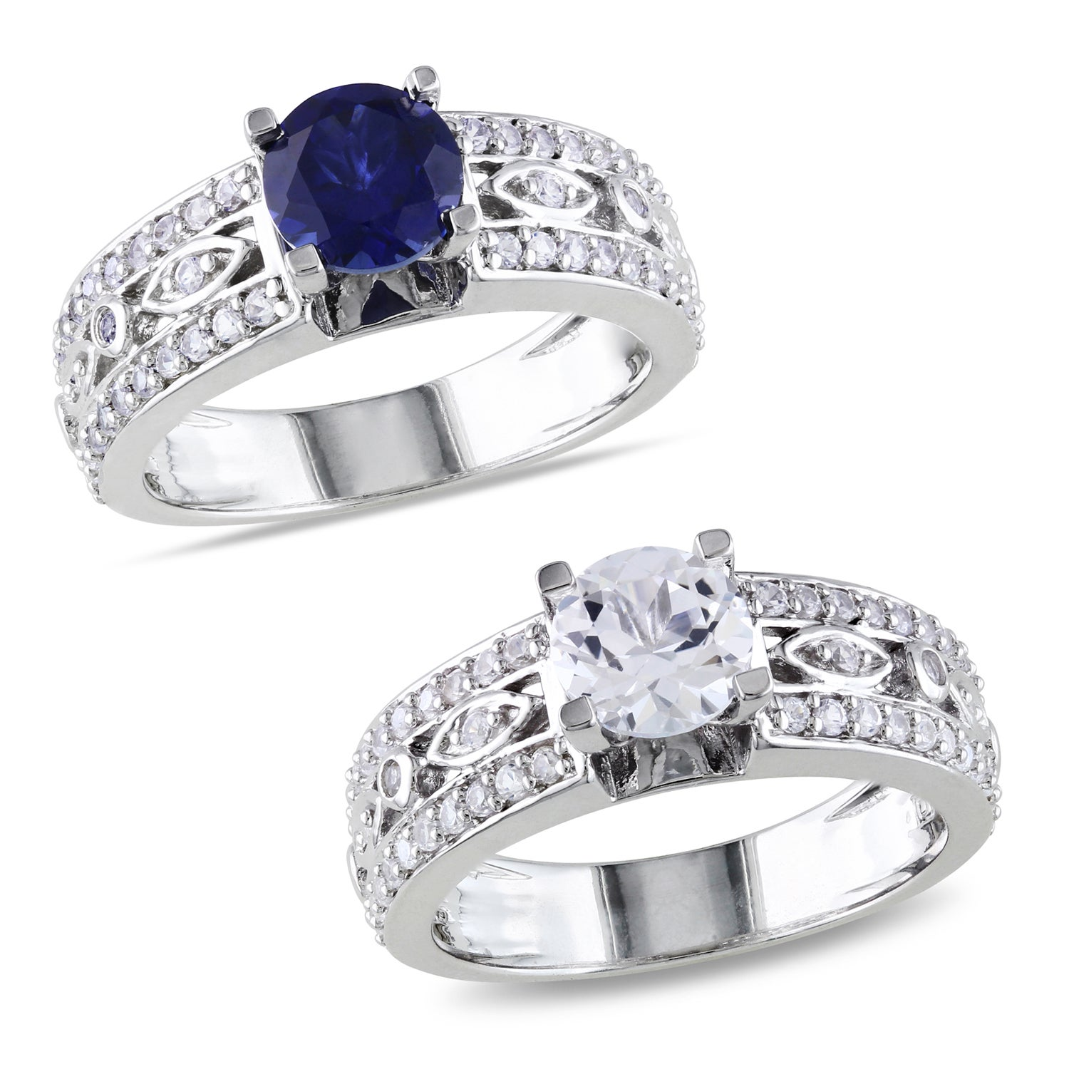 Miadora Sterling Silver White or Blue Sapphire Engagement Ring