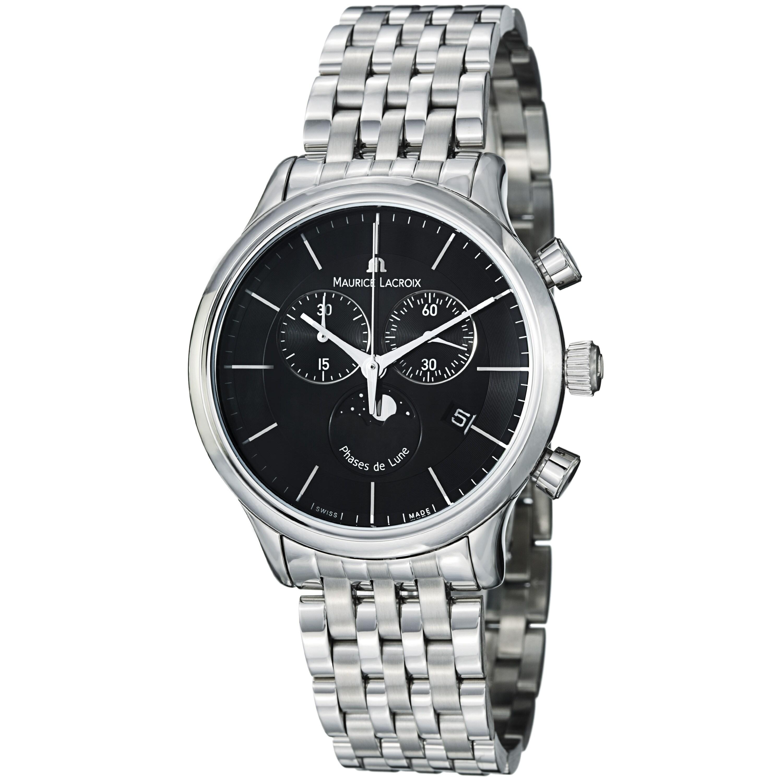 Maurice Lacroix Men's 'Les Classiques' Black Dial Steel Quartz Watch