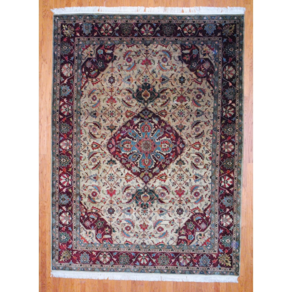 Indo Hand-knotted Heriz Beige/ Burgundy Wool Rug (8&#39;2 x 11&#39;)