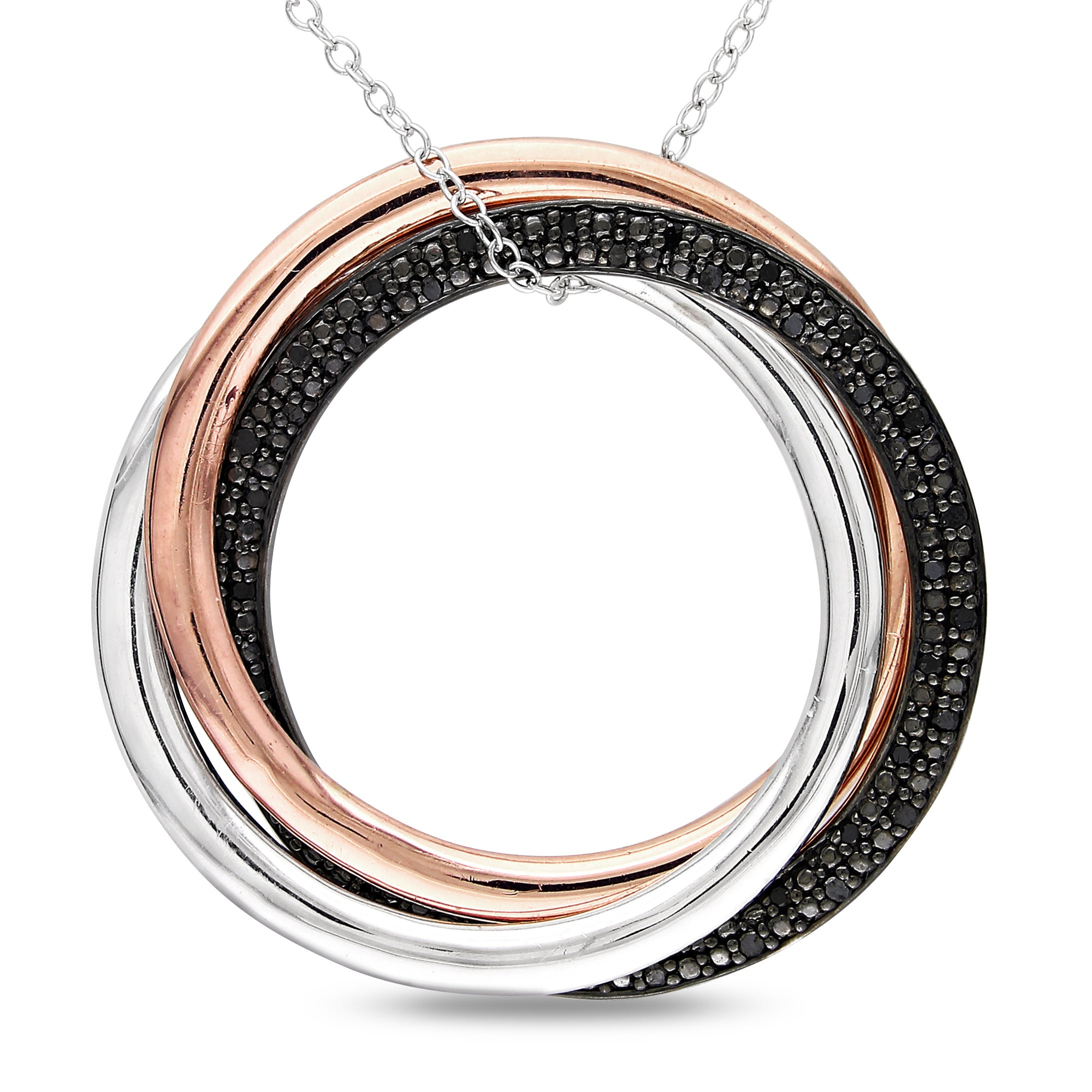 Miadora Two-tone Silver 1/4ct TDW Black Diamond Circle Necklace