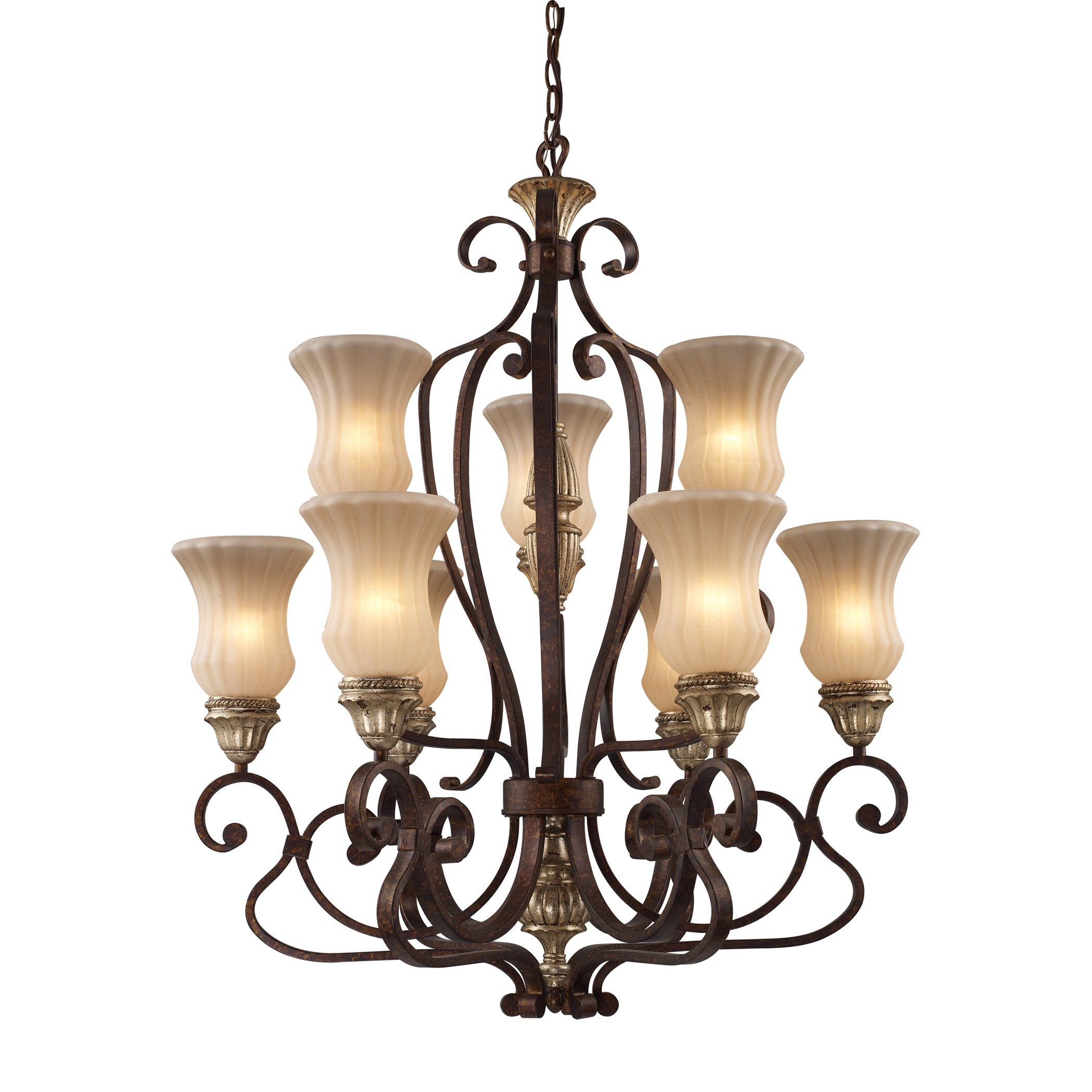 Elk Lighting Caspian Autumn Bronze 6+3 Light Chandelier