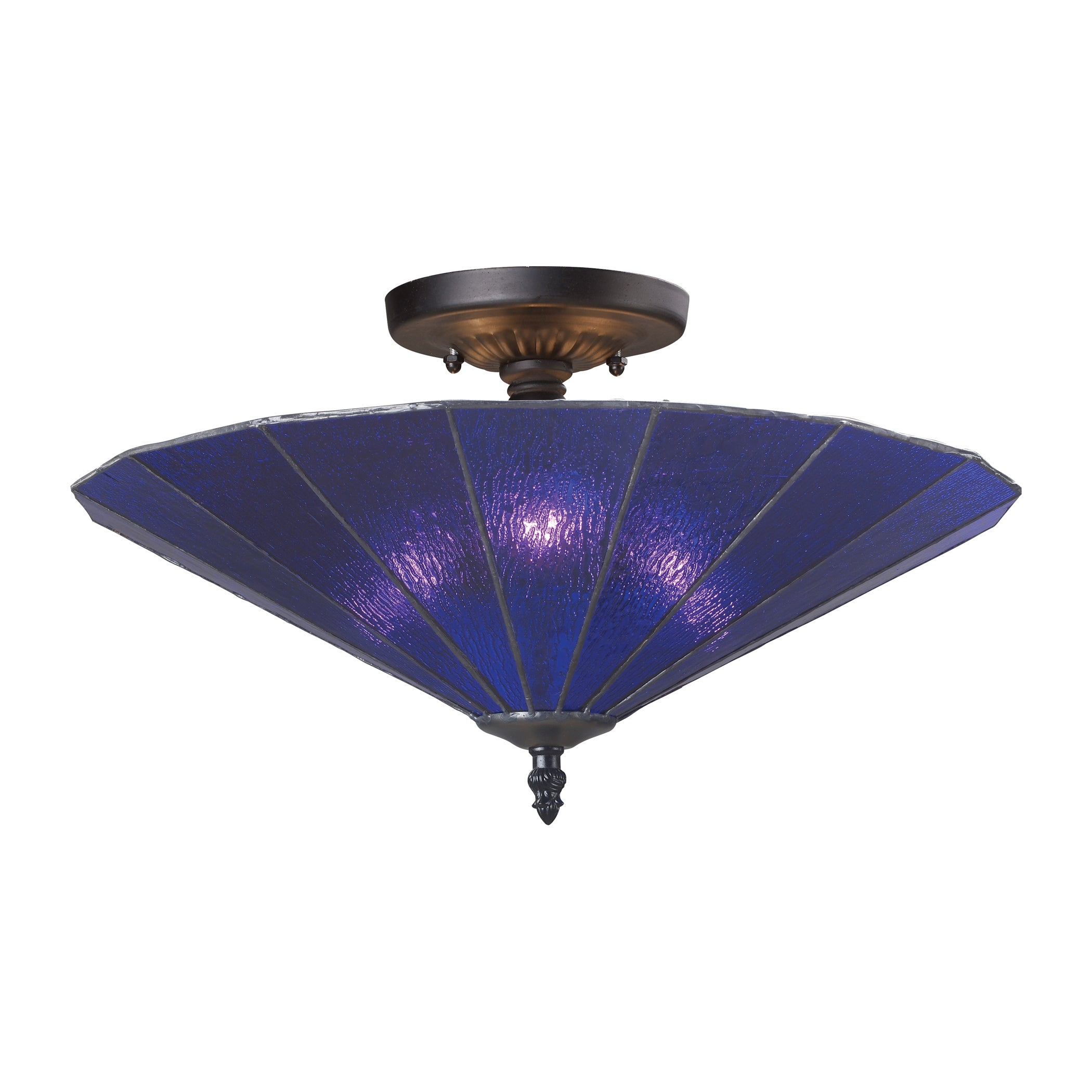 Landmark Lighting Lumino Translucent Blue 3-Light Semi-Flush