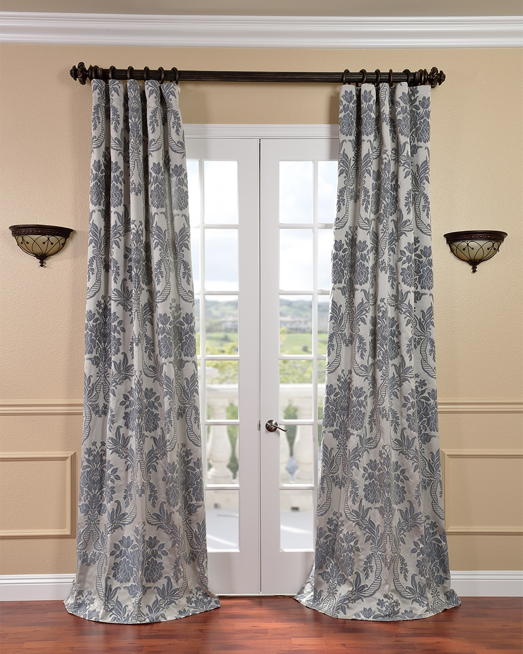 EFF Magdelena Silver/ Blue Faux Silk Jacquard Curtain Panel