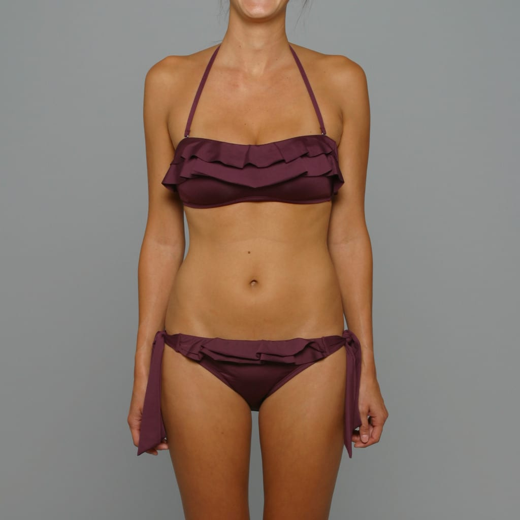 Perry Ellis Women's Black Plum 'Cha-Cha' Bandeau Bikini