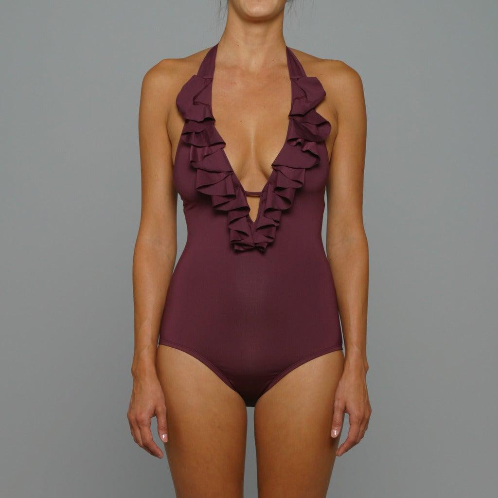 Perry Ellis Swim Women's 'Saucy' Black Plum 1-piece Swimsuit