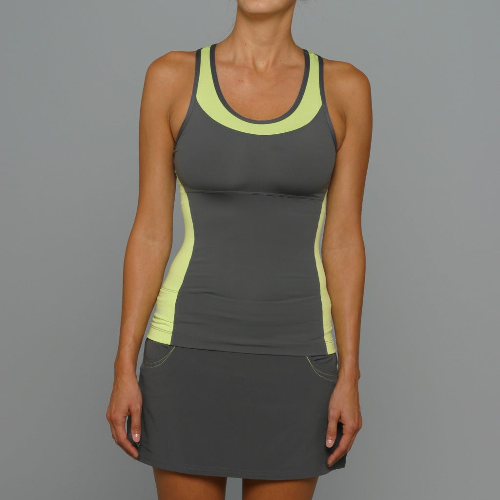 SportHill Women's Madison Pewter/ Lime Fitness Tank Top