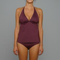 Perry Ellis Swim Women's Black Plum 'Waterfall Racerback' Tankini