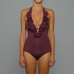 Perry Ellis Swim Women's 'Saucy' Black Plum 1-piece Swimsuit