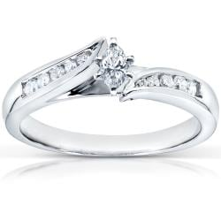  14k White Gold 1/4ct TDW Marquise Diamond Engagement Ring (H-I, I1-I2)