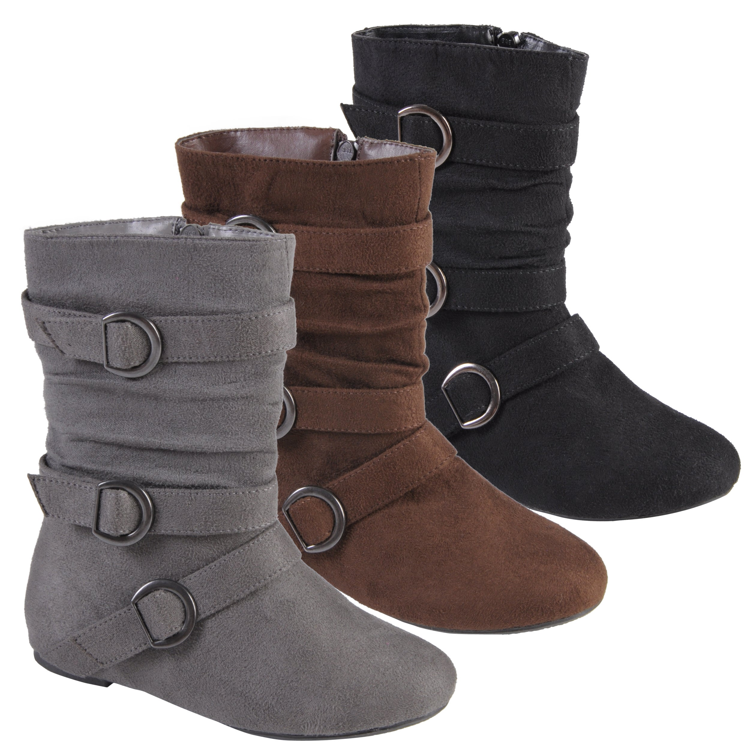 Journee Collection Kid's 'Sarena' Buckle Accent Suede Boots