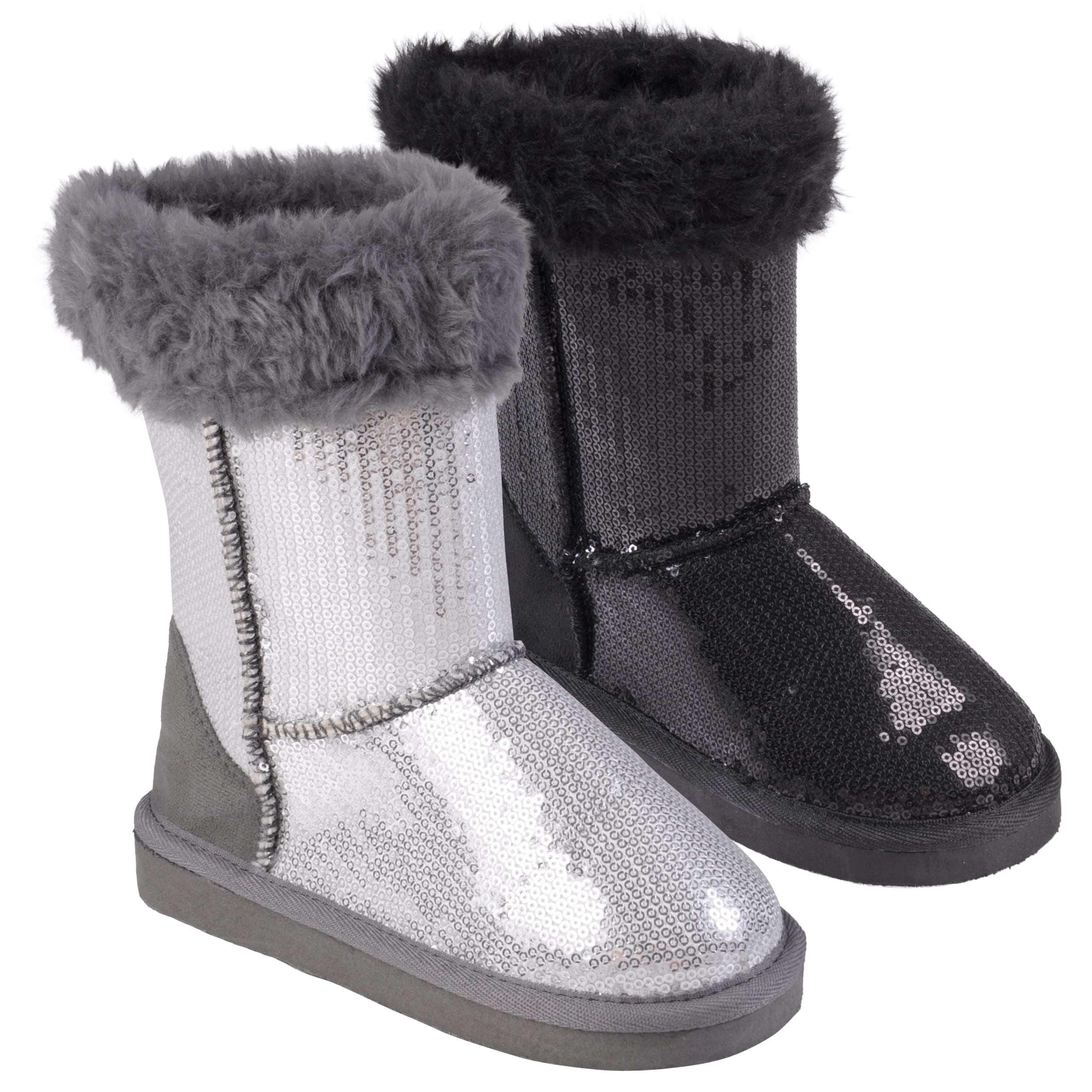 Journee Collection Kid's 'Ugena-star' Faux Fur Accent Sequined Boots