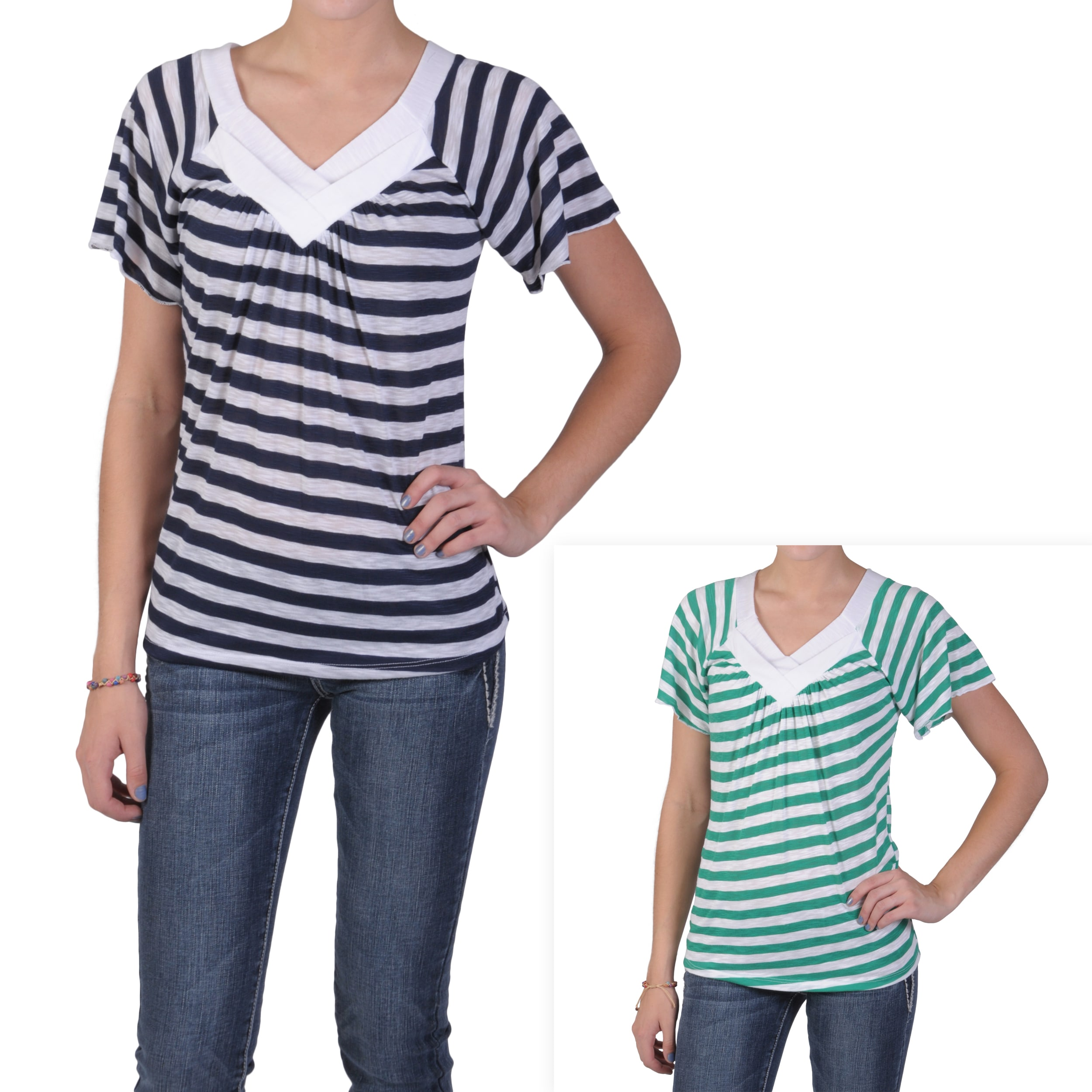 Tressa Designs Women's Contemporary Plus Striped V-neck Top