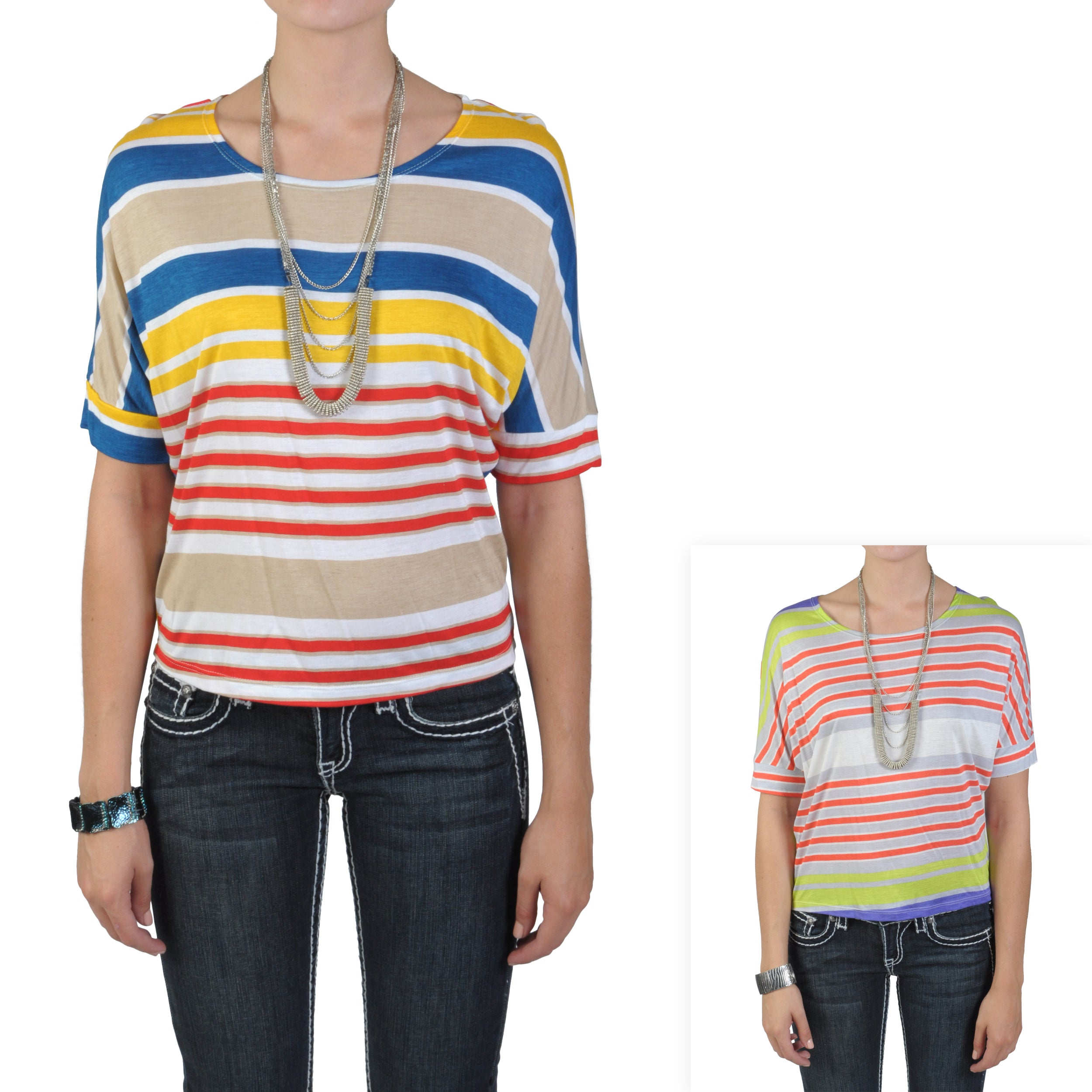 Journee Collection Junior's Short-sleeve Scoop Neck Striped Top