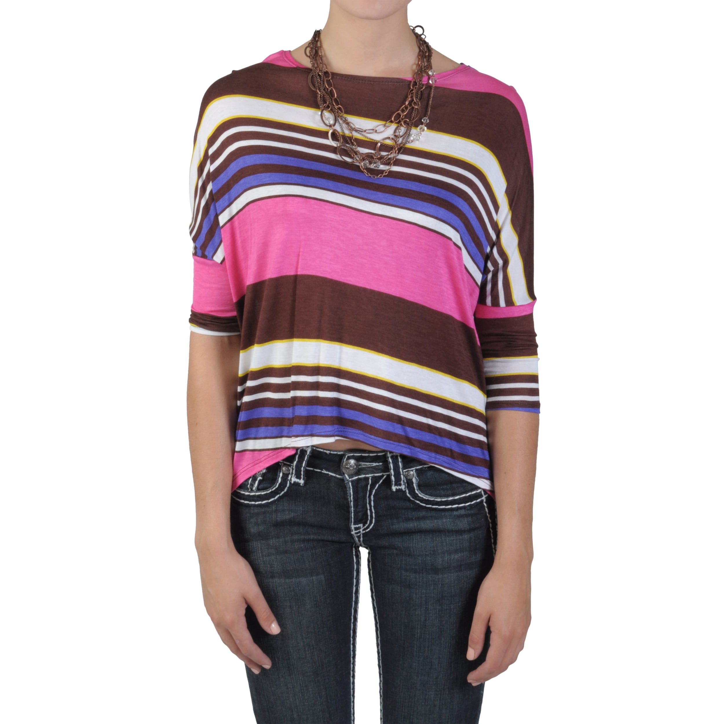 Journee Collection Junior's Dolman Sleeve Hi-low Striped Top