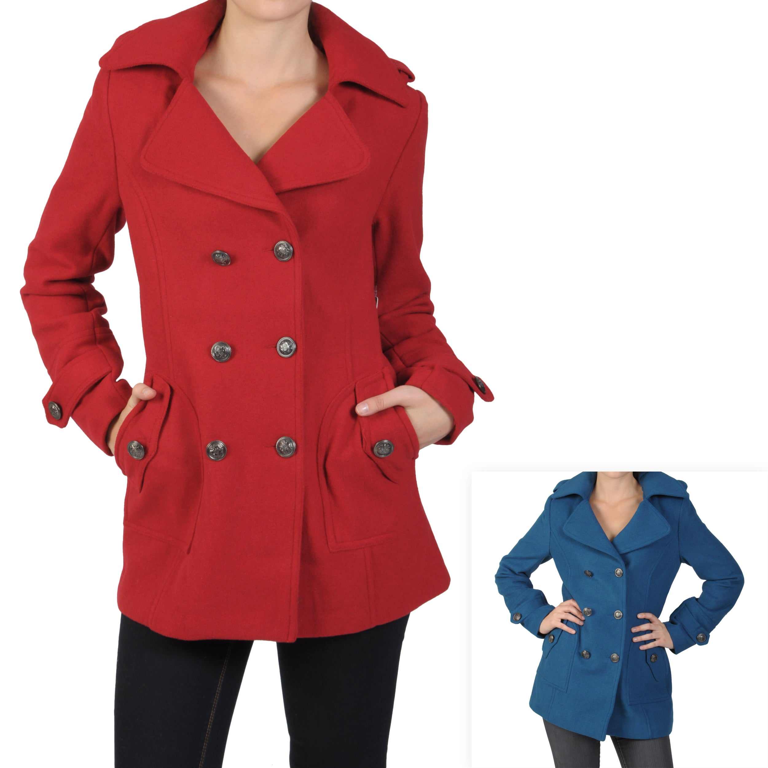 Journee Collection Junior's Double-breasted Peacoat