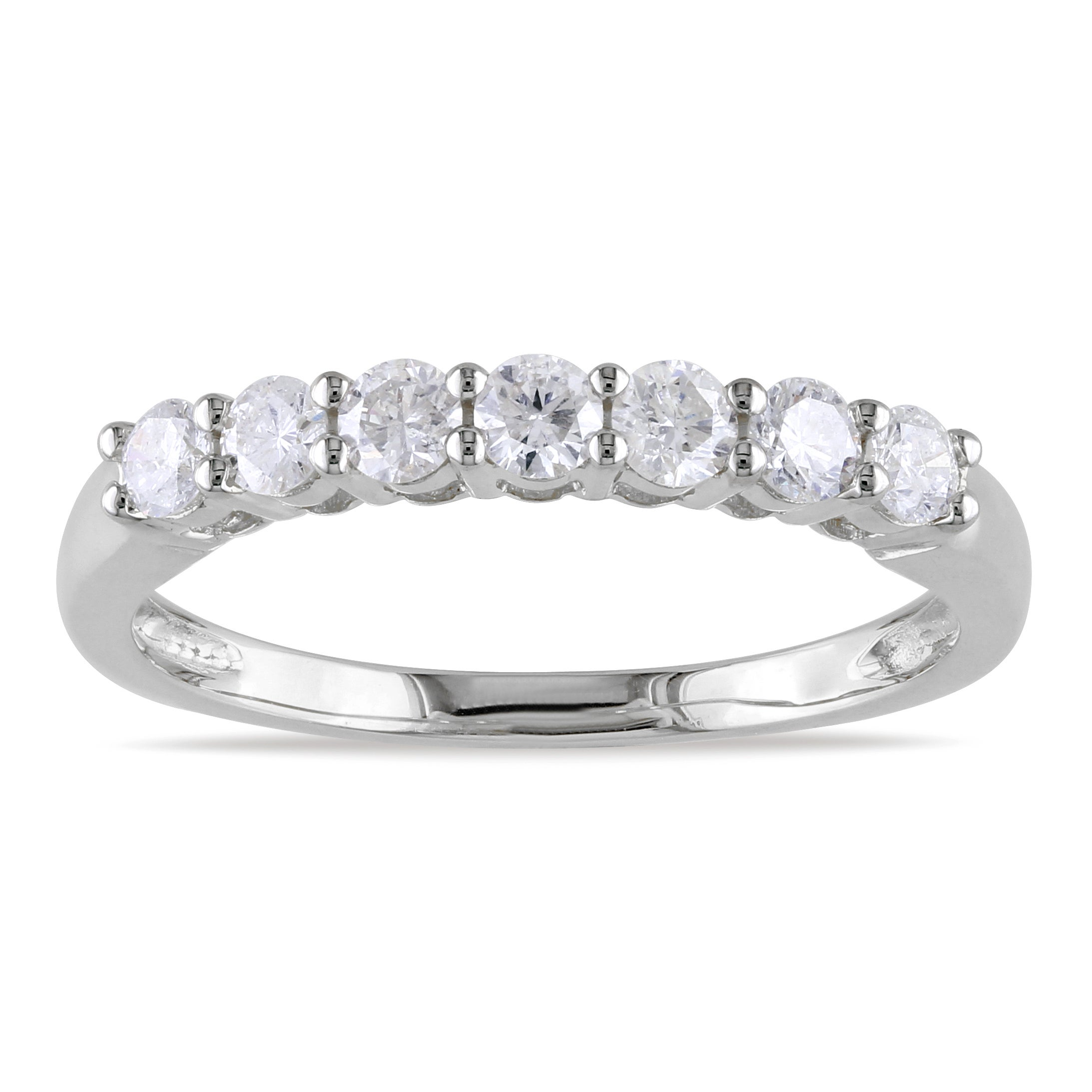 Miadora 14k White Gold 1/2ct TDW Diamond Semi Eternity Ring (G-H, SI1-SI2)