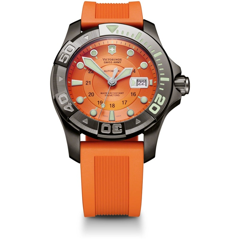 Victorinox Swiss Army Men's Automatic Dive Watch 500 Orange Dial Rubber Watch
