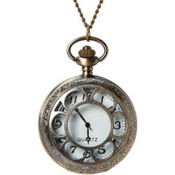 Pocket Watch 1/Pkg-Bronze Large Flower Lid