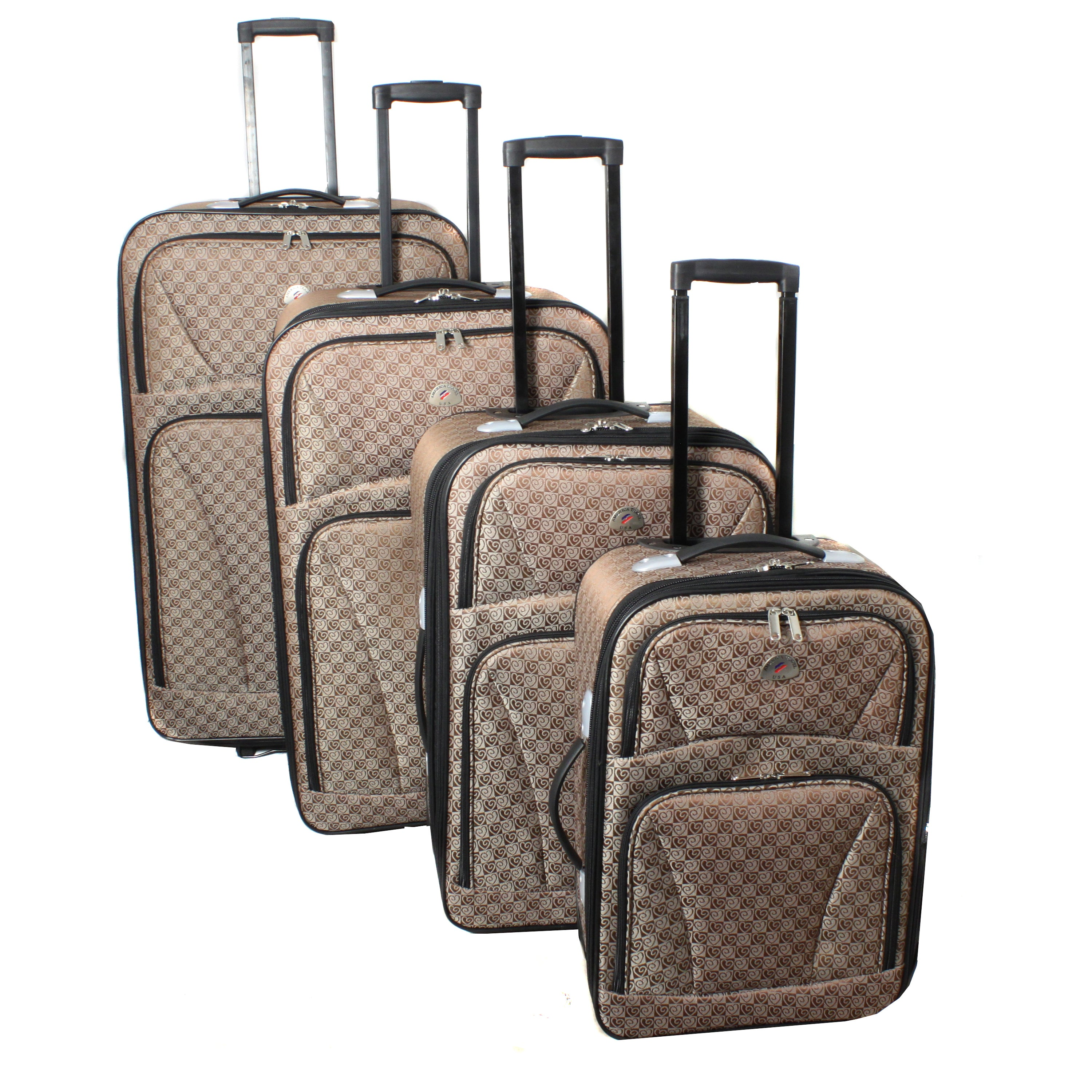 American Traveler 'Hearts' 4-piece Brown Expandable Wheeled Luggage Set