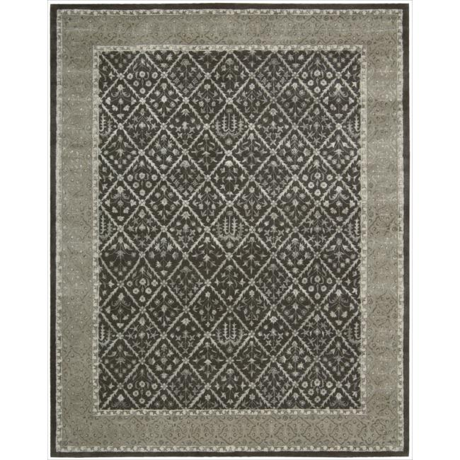Nourison Hand-tufted Symphony Diamond Pattern Charcoal Rug (9'6 x 13)