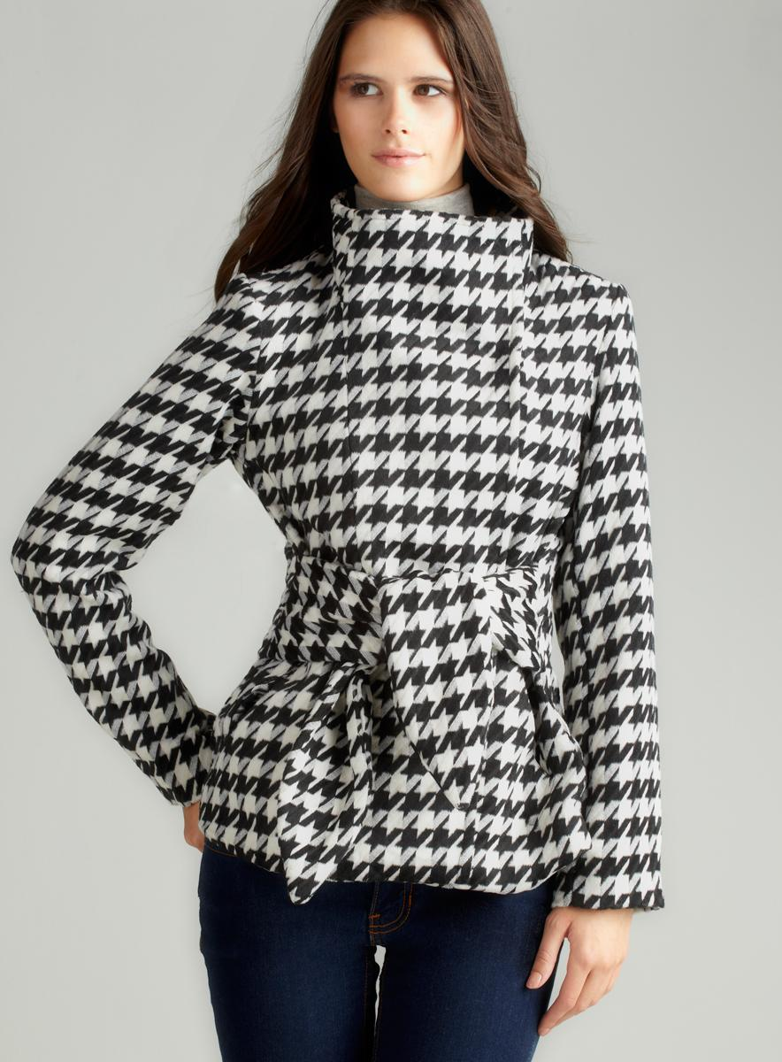 For Cynthia Houndstooth Jacket With Tie Waist