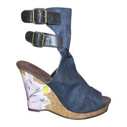 Women's Sun Luks by Muk Luks Scrunch Peep Toe Wedge Denim/Watercolor Flower