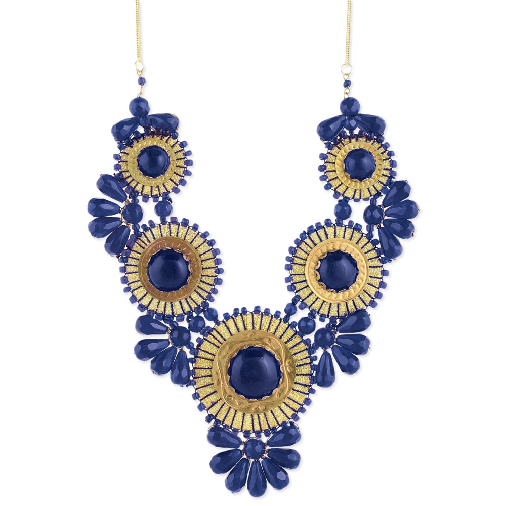 Handcrafted Blue Glass Beads and Threaded Medallions Necklace (India)