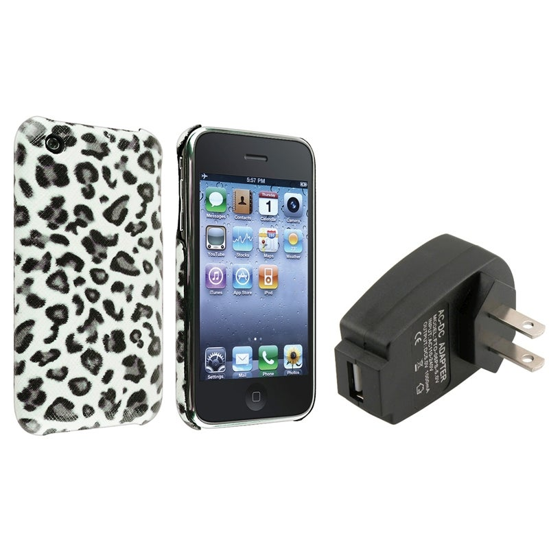 Grey Leopard Rear Case/ USB Travel Charger for Apple iPhone 3G/ 3GS