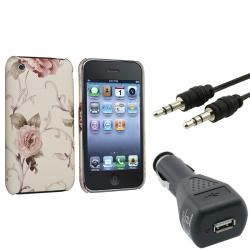 White/ Pink Flower Case/ Charger/ Cable for Apple iPhone 3G/ 3GS