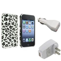 Grey Leopard Case/ Car and Travel Charger for Apple iPhone 3G/ 3GS