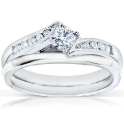 14k White Gold 1/3ct TDW Diamond Bridal Rings Set (H-I, I1-I2)