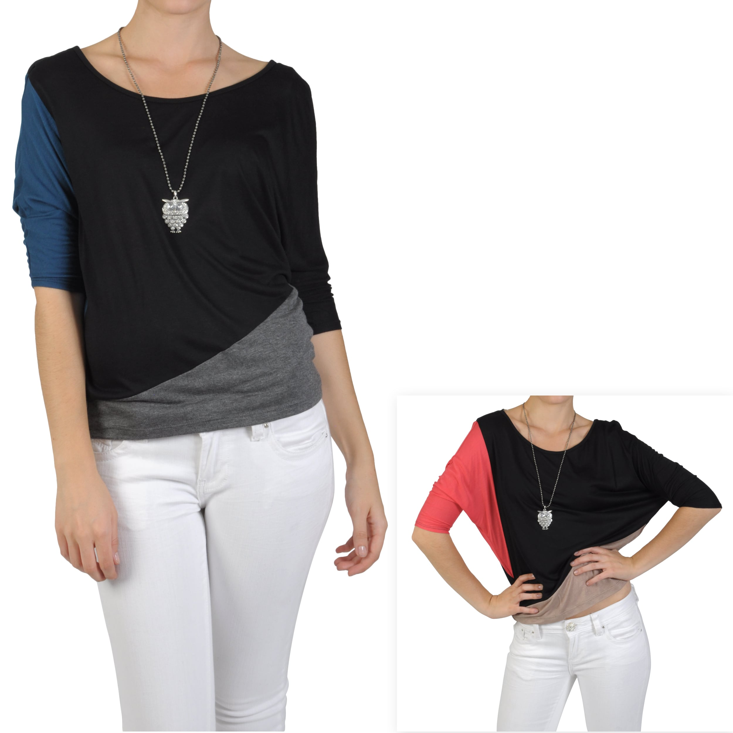 Journee Collection Junior's Dolman Sleeve Color Block Top