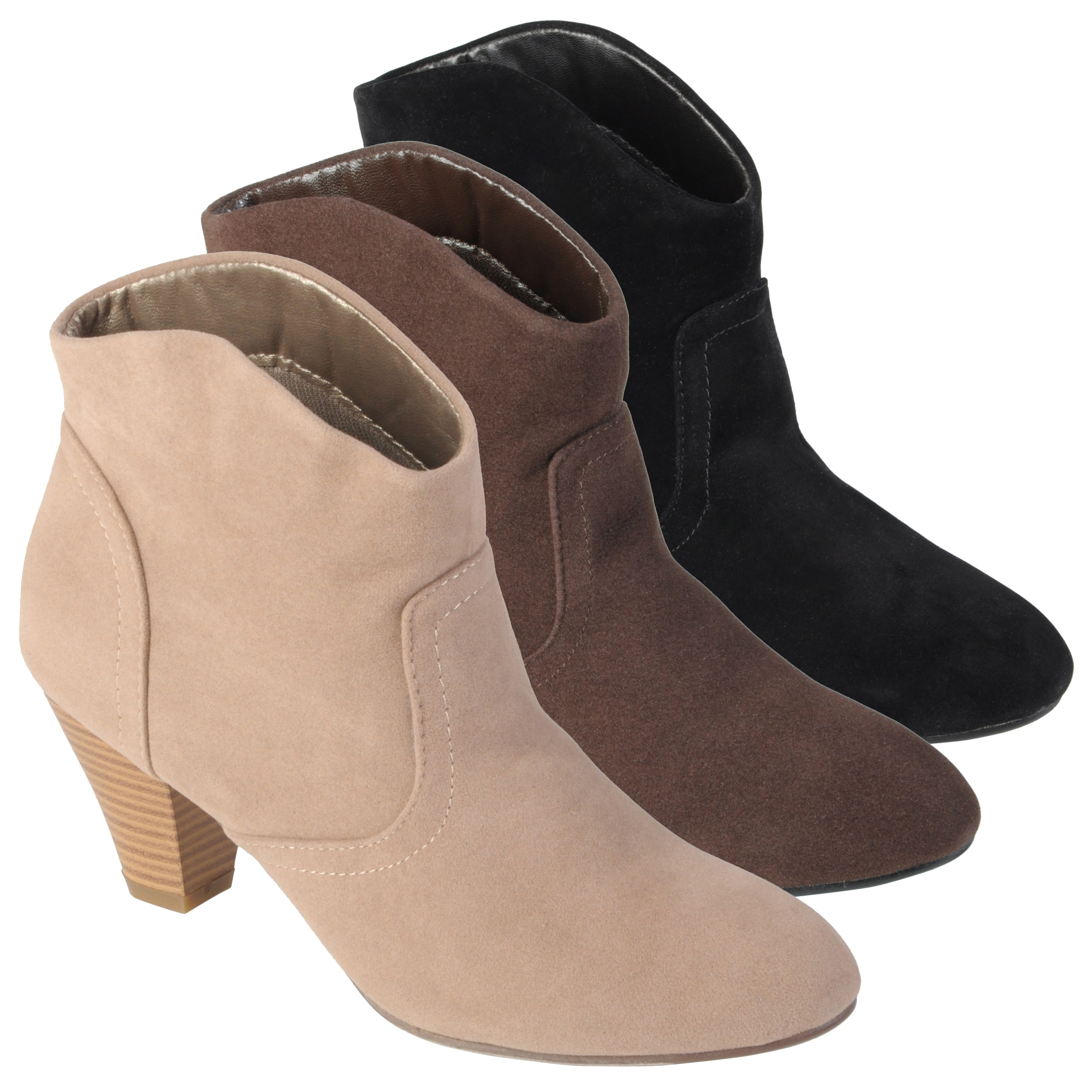 Journee Collection Women&#39;s &#39;Pippa&#39; Topstiched High Heel Booties