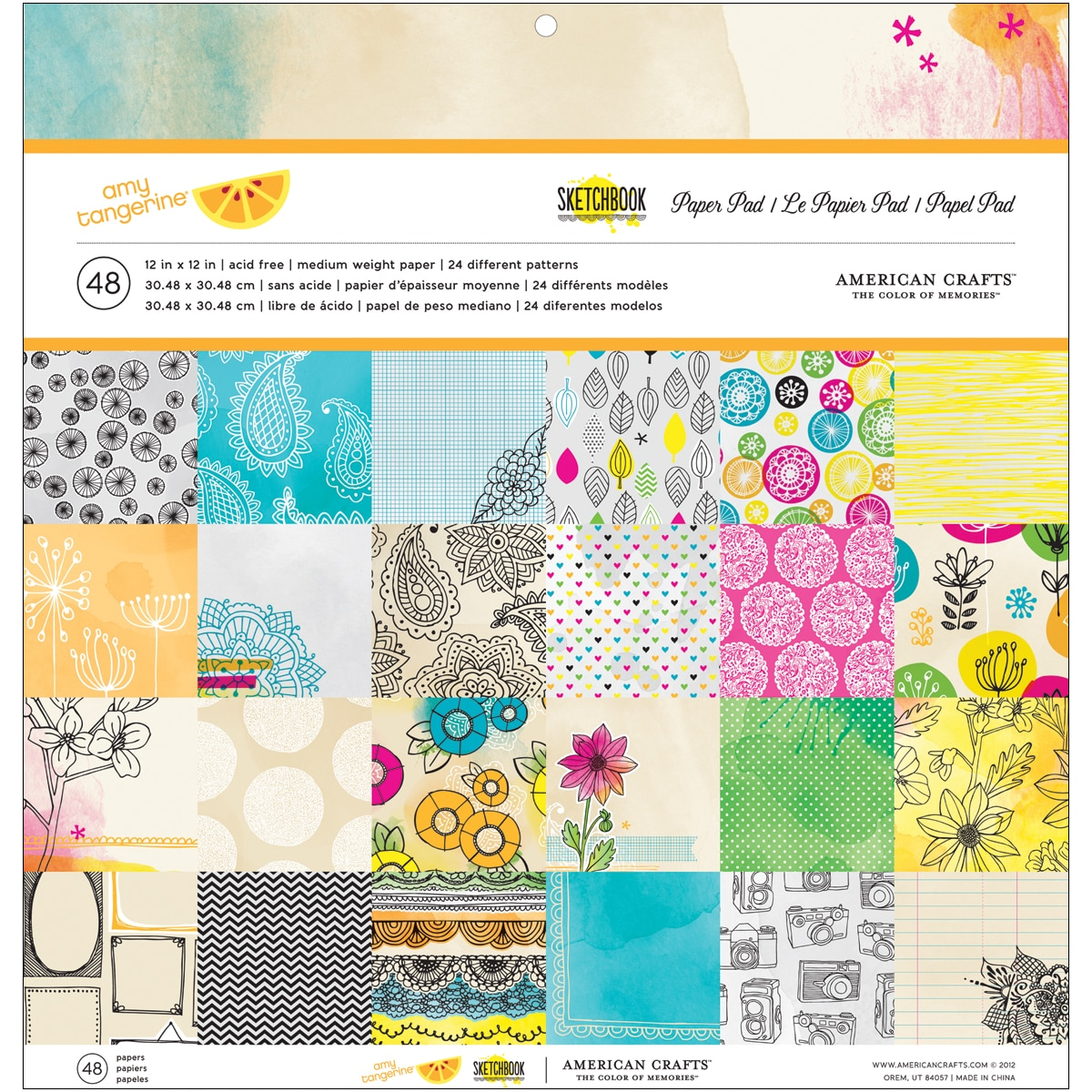 "Amy Tangerine Sketchbook Paper Pad 12""X12""-24 Different Patterns/2 Each"