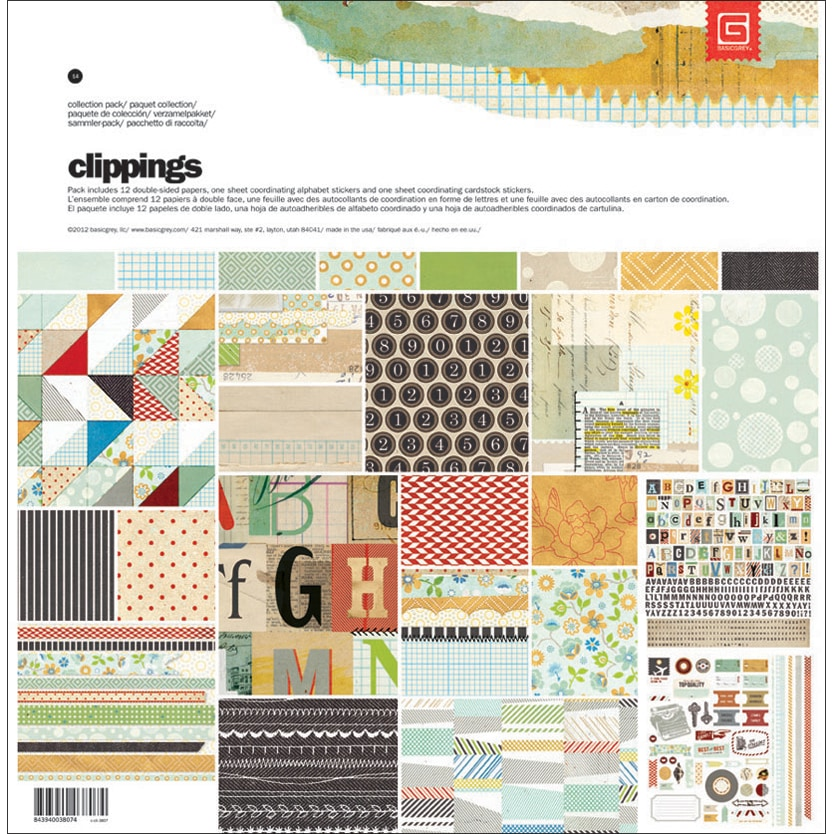 "Clippings Collection Pack 12""X12""-1 Alpha & 1 Element Stickers + 12 Papers"