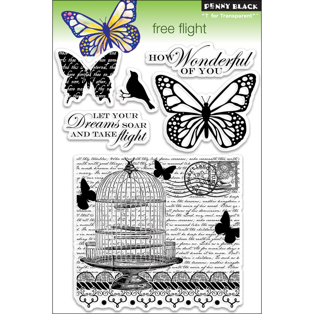 "Penny Black Clear Stamps 5""X7.5"" Sheet-Free Flight"