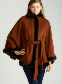 Ellen Tracy Faux Fur Trim Cape